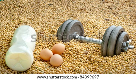3 different source of proteins: milk, eggs, soya - stock photo