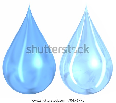 2 different styles of blue water drops isolated on a white background