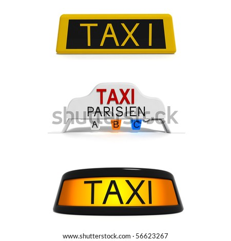 3 different taxi signs - stock photo