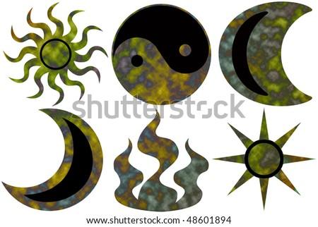 6 different tie dyed karma symbols - stock photo