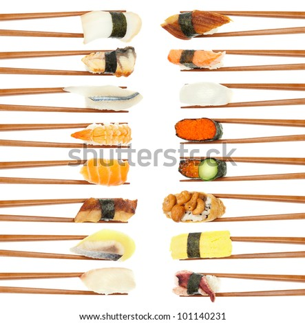 16 different types of sushi being held up in in two vertical rows with wooden chopsticks isolated on white. - stock photo