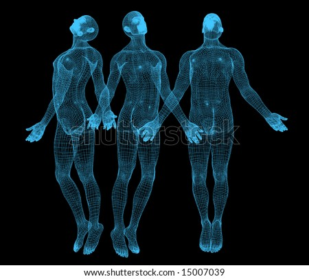 3 different vision of tridimensional man - stock photo