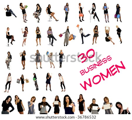 30 different women in business & corporate wear with suitcases, blank signs, business cards, business wear. Isolated on white background - stock photo