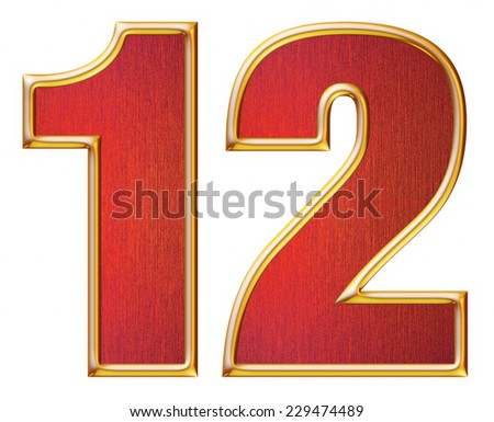 1 & 2 digit from red with gold shiny frame alphabet set, isolated on white. Computer generated 3D photo rendering.  - stock photo