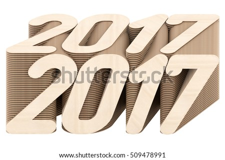 2017 digits composed of intersected wood panels isolated on white background. High resolution 3D image