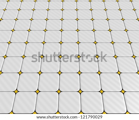 3-dimensional floor with different yellow and white tiles