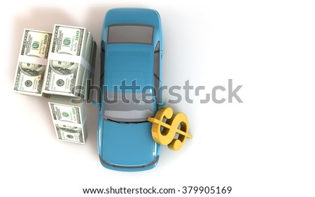 3 Dimensional Graphic 100 dollar bills about financial concept, Render at high resolution on a white background - stock photo