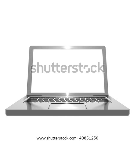 3 dimensional illustration of metallic, brushed steel effect angled laptop on white background