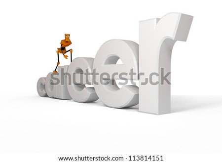 3-dimensional image of robot climbing up the corporate ladder - stock photo