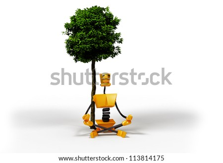 3-dimensional image of robot meditating under the tree. - stock photo