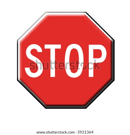 3dimensional stop sign on white background. Illustration.
