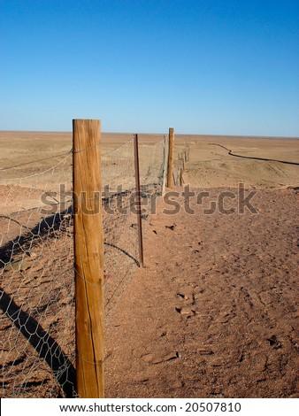 Dingo Fence Australia - stock photo