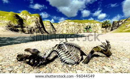 Dinosaur bones  on the beach - stock photo