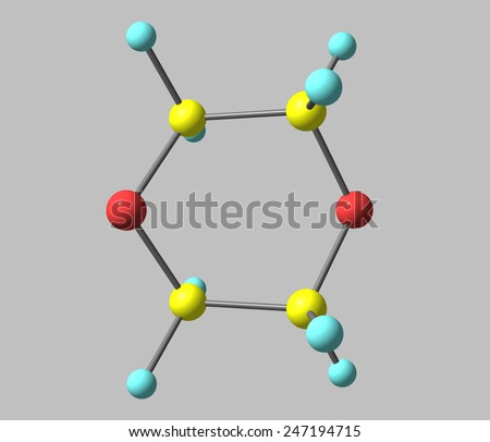 1,4-Dioxane (dioxane)  is a heterocyclic organic compound. It is a colorless liquid with a faint sweet odor similar to that of diethyl ether