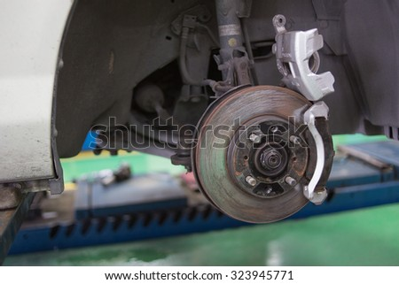 disc brake on car in process of new tire replacement - stock photo