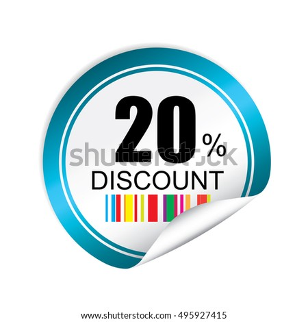 20% discount blue sticker, button, label and sign.