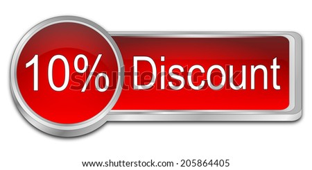 10% Discount Button - stock photo