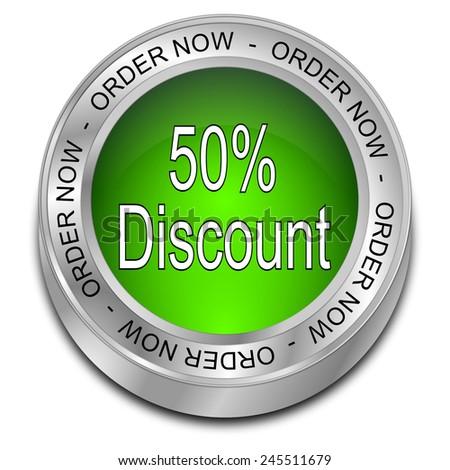 50% Discount Button - stock photo
