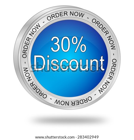 30% Discount Button - stock photo