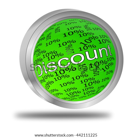 10% Discount button - 3D illustration - stock photo