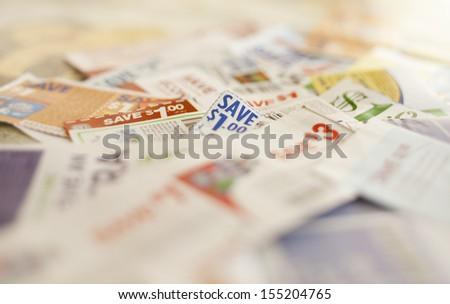 $1 discount coupons  - stock photo