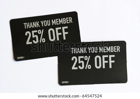 25% Discount Coupons for Member - stock photo