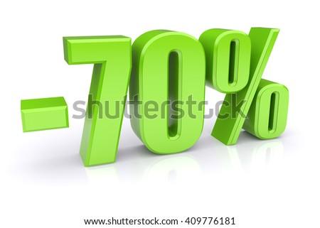 70% discount icon on a white background - stock photo