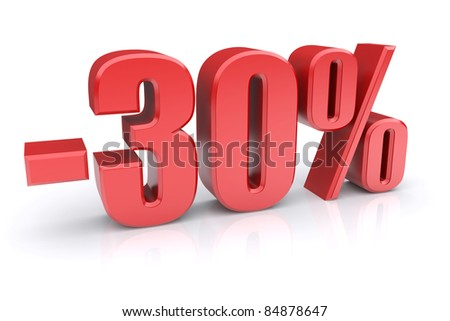 30% discount icon on a white background