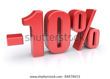 10% discount icon on a white background - stock photo