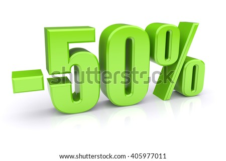 50% discount icon on a white background 3d illustration - stock photo