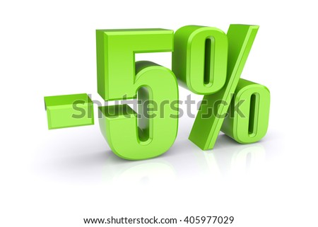 5% discount icon on a white background 3d illustration - stock photo
