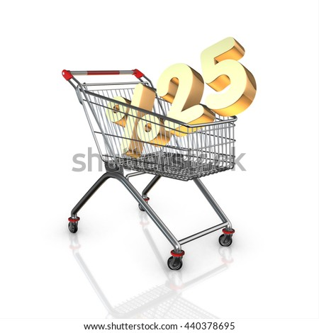 % 25 discount in shopping cart, 3d render with white background isolated