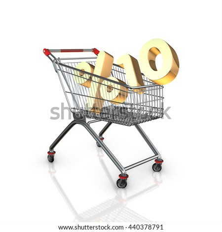 % 10 discount in shopping cart, 3d render with white background isolated