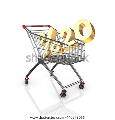 % 20 discount in shopping cart, 3d render with white background isolated