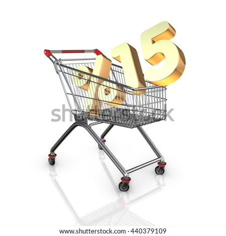 % 15 discount in shopping cart, 3d render with white background isolated