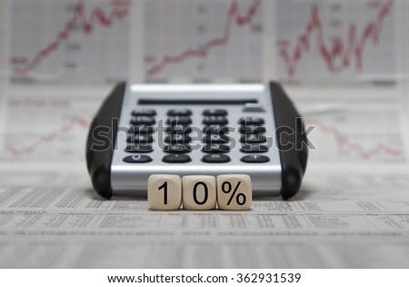 10% discount or profit - stock photo
