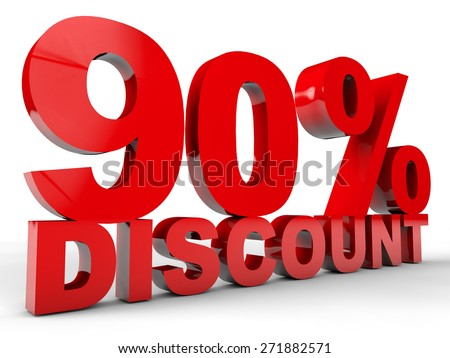90% Discount over white background - stock photo