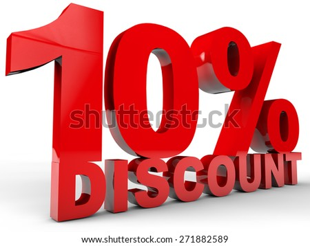 10% Discount over white background - stock photo