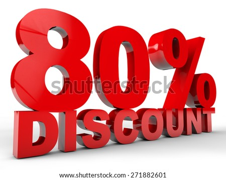 80% Discount over white Background - stock photo