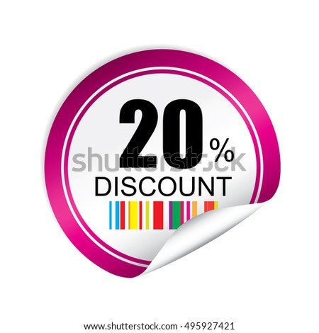 20% discount pink sticker, button, label and sign.