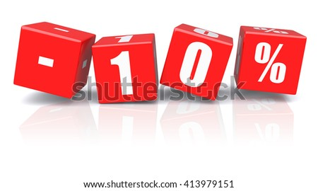 10% discount red cubes on a white background. 3d rendered image - stock photo