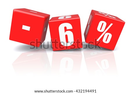 6% discount red cubes on a white background. 3d rendered image - stock photo