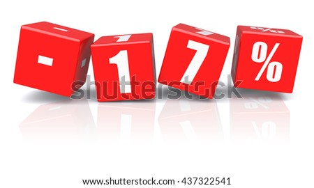 17% discount red cubes on a white background. 3d rendered image