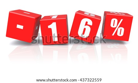 16% discount red cubes on a white background. 3d rendered image - stock photo