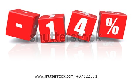 14% discount red cubes on a white background. 3d rendered image - stock photo