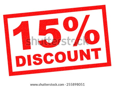15% DISCOUNT red Rubber Stamp over a white background. - stock photo