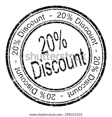 20% Discount rubber stamp - stock photo