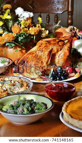 dishes for Thanksgiving. young turkey, cranberry sauce, pumpkin pie. sunny weather, the sun's rays illuminate the dishes.