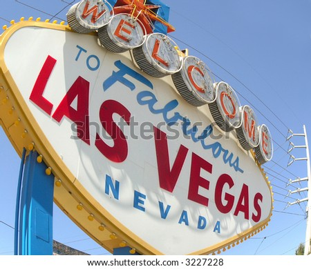 distorted wide angle  las vegas road sign - stock photo