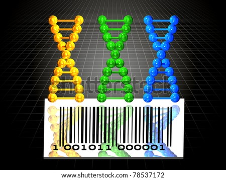 3 DNA chains and barcode - stock photo